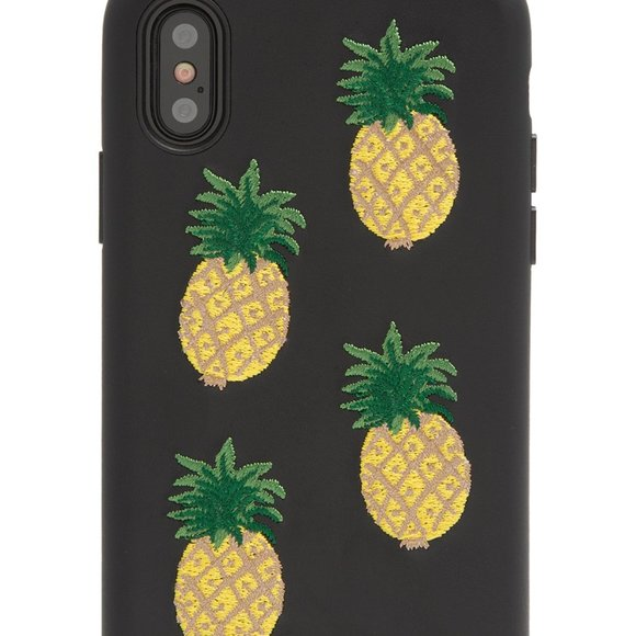Embroidered Faux Leather Pineapple iPhone …